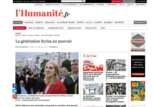 L' Humanite. 27 January 2015.