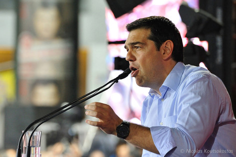 Alexis Tsipras speaks to supporters in Athens