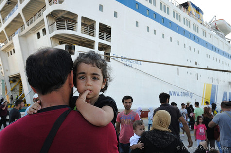 Refugees arrive at the Port of Piraeus