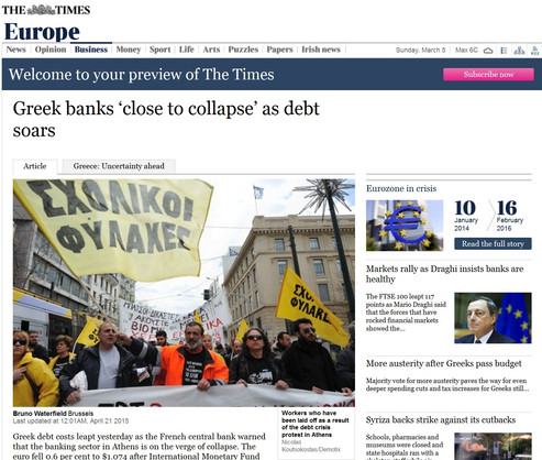 The Times. 21 April 2015.