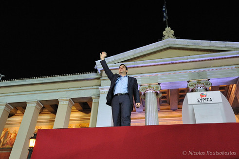 Election winner Alexis Tsipras addresses supporters in Athens