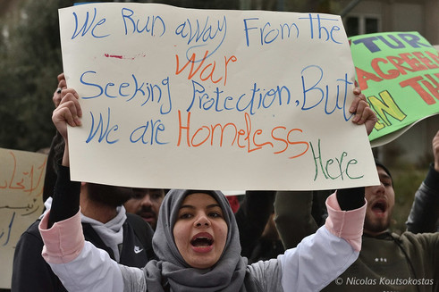 Refugees protest for housing funds in Athens