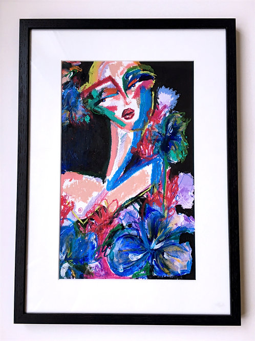 Floral sola - Included frame & passe-partout