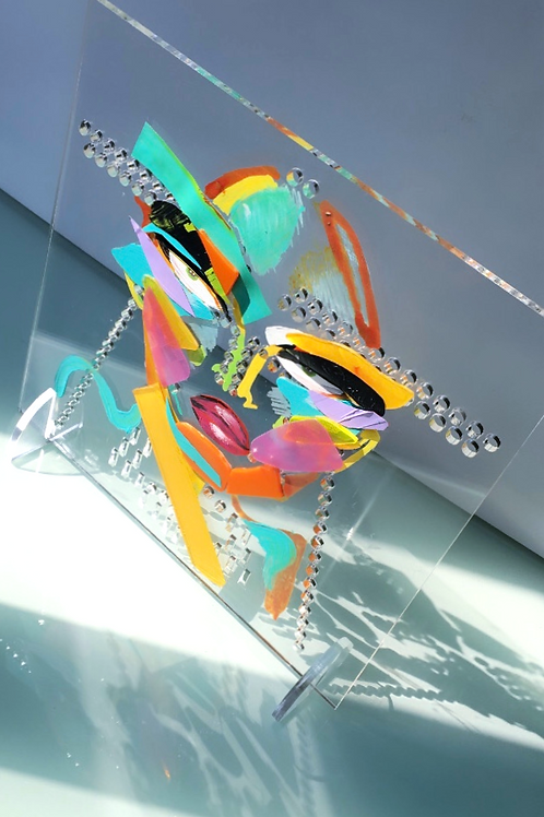 Recycled - Plexiglass monster yel