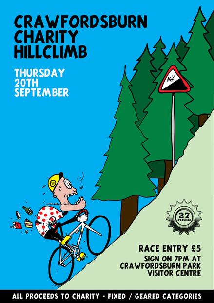 Charity hill climb poster illustration