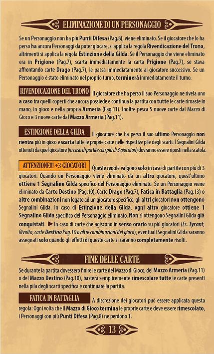 Throne | Pagina 13 - Regolamento - Eliminazione di un Personaggio - Fine delle Carte