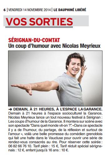 Dauphiné libéré du 14-11-2014