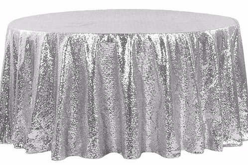 "120"" Silver Sequins Tablecloth"
