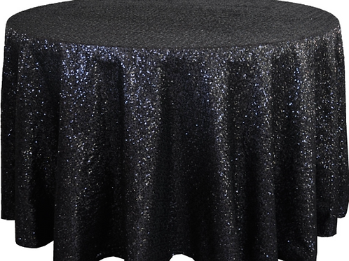 "120"" Black Sequins Tablecloth"