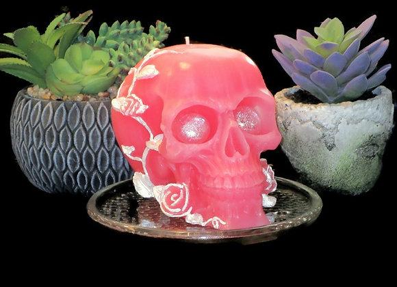 Soft Pink Rose skull with sparkling eyes