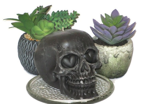Dark Gray Skull Pillar Candle