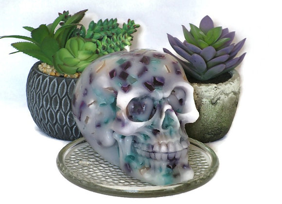 Handmade Teal & Purple Chunk Skull Pillar Candle