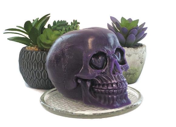 Deep Purple Pomegranate Cocktail Skull Pillar Candle