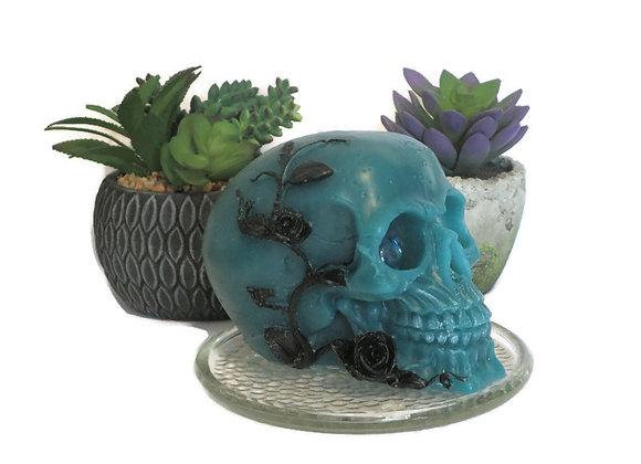 Teal & Black Ocean Mist Rose Skull Pillar Candle