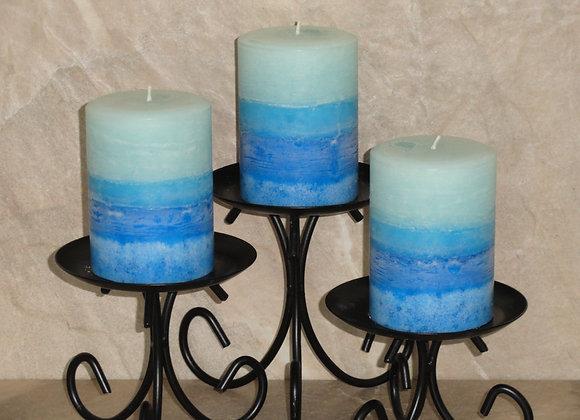 Set of 3 April Rain Round Pillar Candles