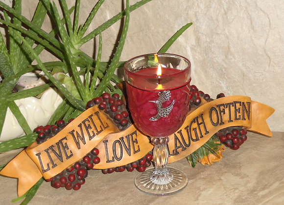 Handmade highly scent Cut glass wine goblet candle Merlot