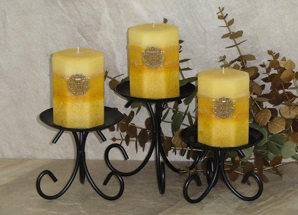 Set of 3 Olive Leaf & Pineapple Pillars