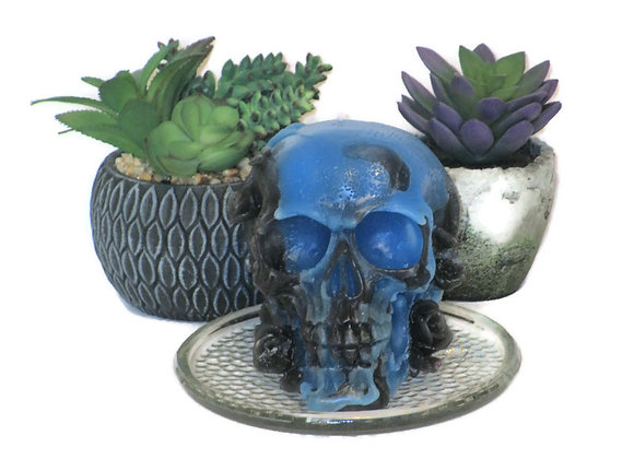 Royal Blue/Black Patchouli Amber Skull Candle