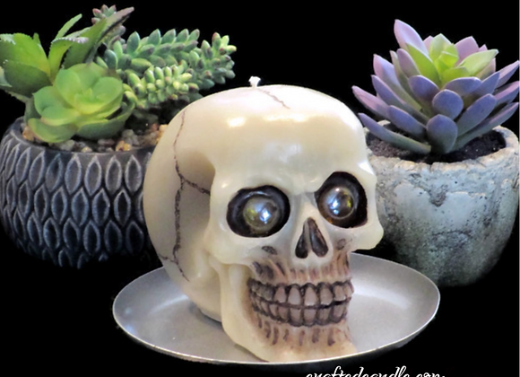 Handmade Natural Skull Candle White Nectarine