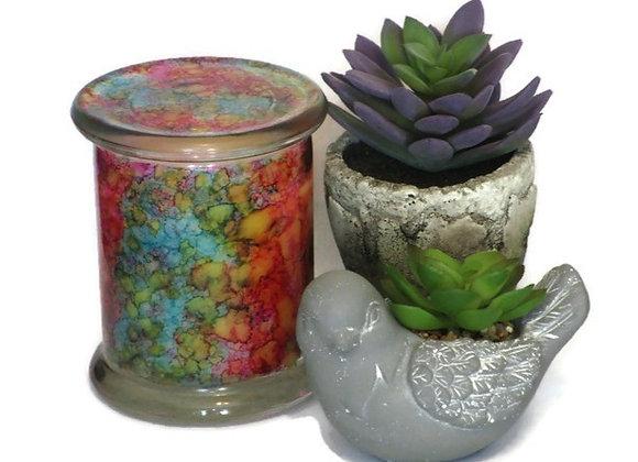 Pink Jasmine Hand Painted Coconut Wax Jar Candle