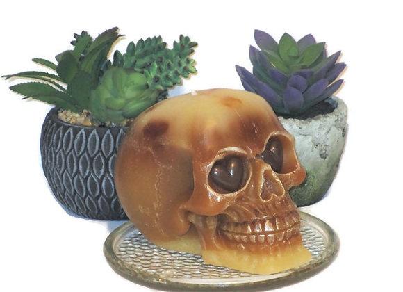 Brown & Cream Berry Pie Crust Skull Pillar Candle