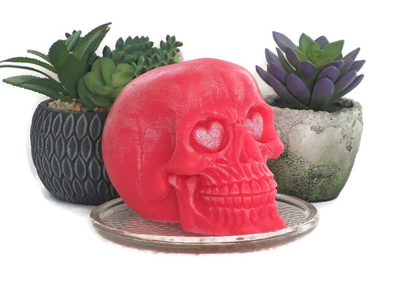 Dark Pink Acai Rose Skull Pillar Wiccan Spell Candle