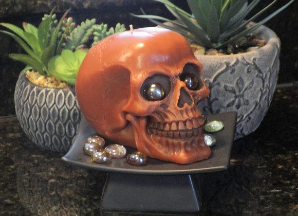 Handmade Warm Vanilla Burnt Orange Skull Pillar