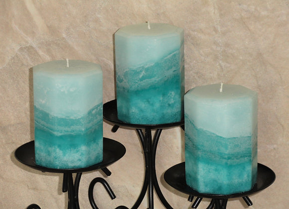 Set of 3 Lemon Lime & Citrus Hexagon Pillar Candles