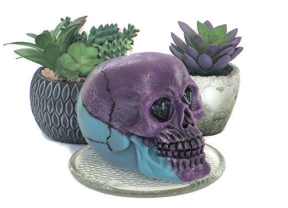 Purple & Teal Well Being Skull Pillar Candle