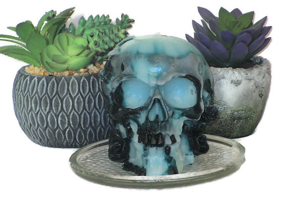 Tie Dye Teal Crystal Ice Skull Pillar Candle