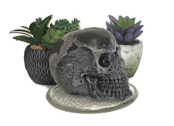 Frosted Black Cinnamon Berry Skull Pillar Candle