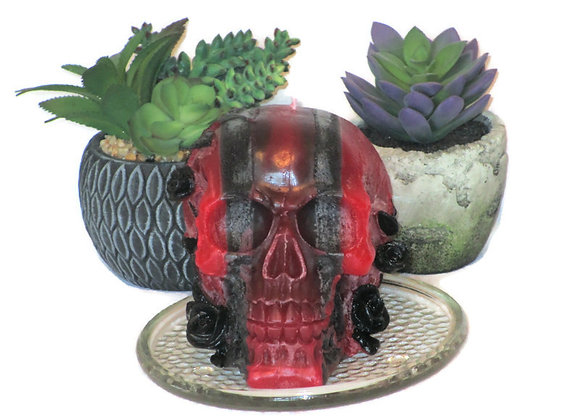 Red & Black Stripe Skull Spell Wiccan Pillar Candle