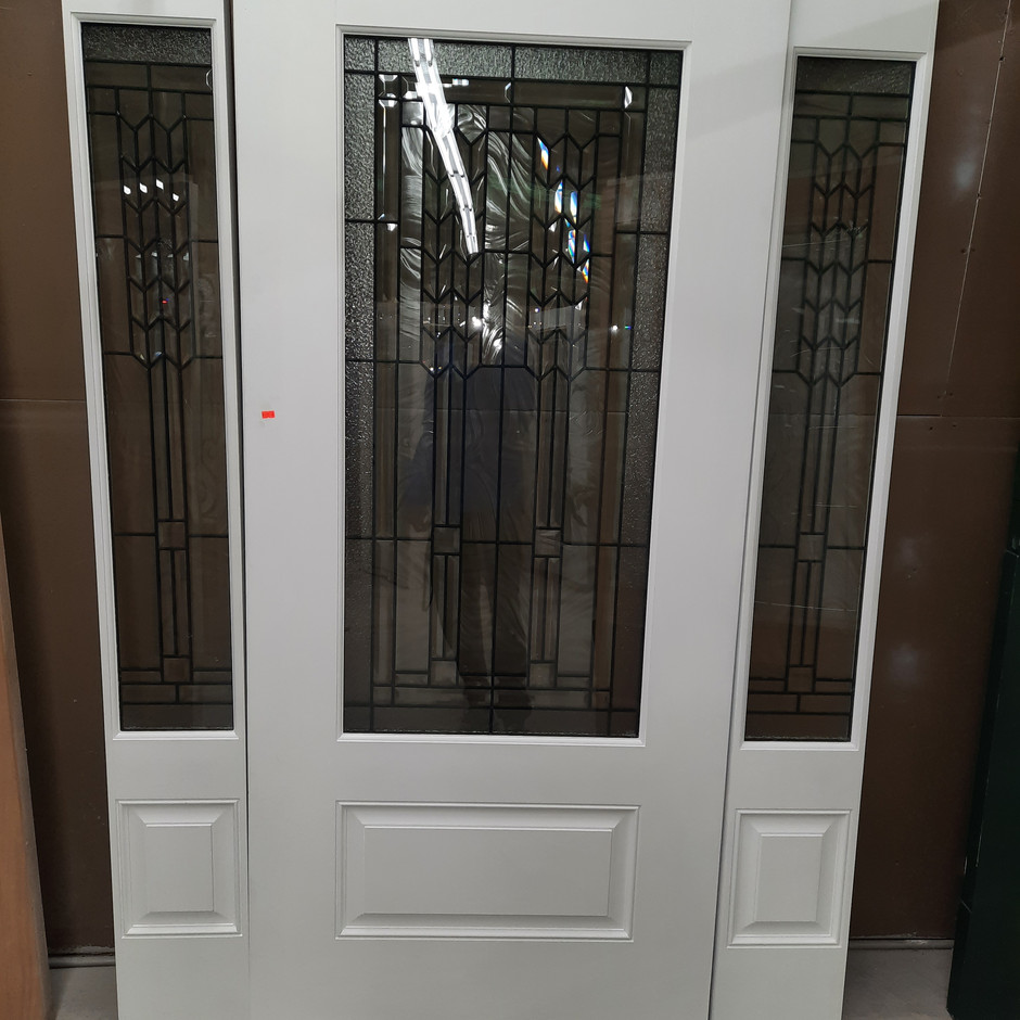 3/4 Fiberglass Door w/ Matching Sidelites - Sequence Glass Design