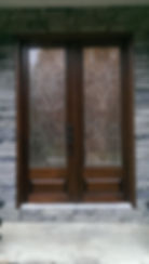 Custom replacement mahogany double doors for front entryway with Bevel King Lincoln glass