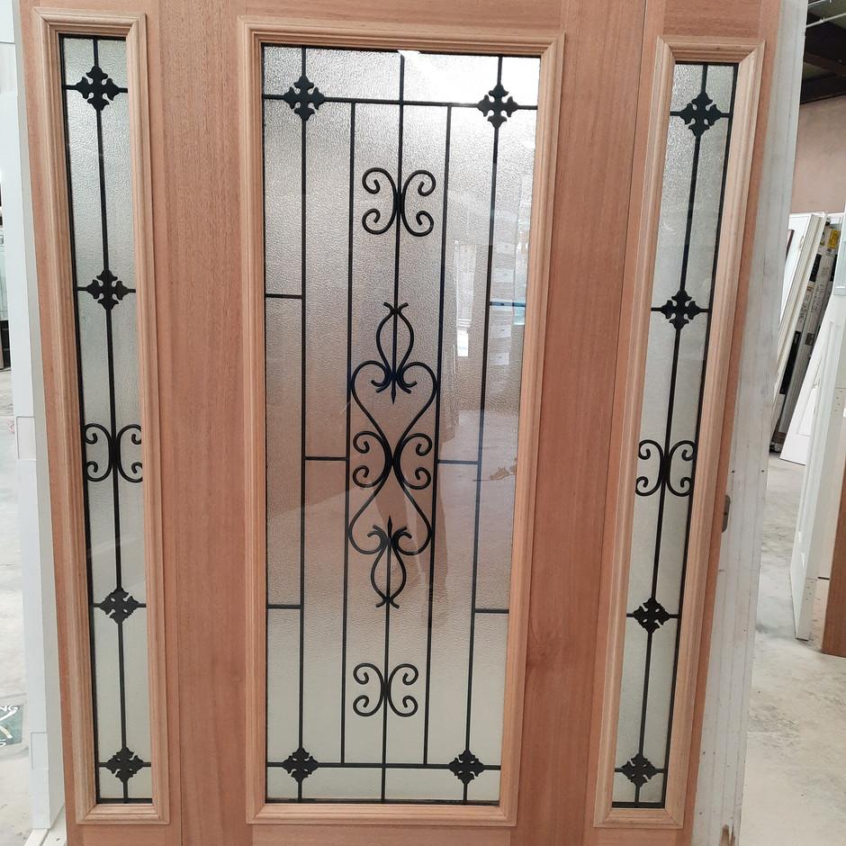 Full Wood Veneer Door w/ Matching Sidelites - Wisteria Glass Design