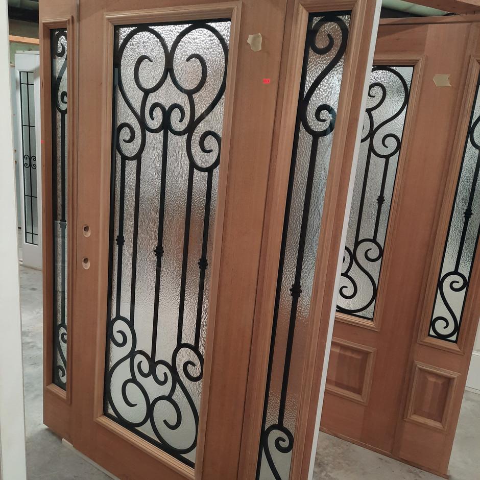 Full Wood Veneer Door w/ Matching Sidelites - Highland Glass Design