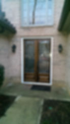 Tall mahogany double door front entryway replacement with bevel king glass insert