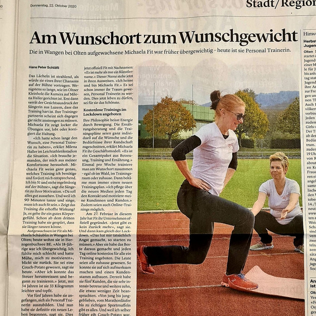 Michaela Fit Medienbericht Oltner Tagblatt