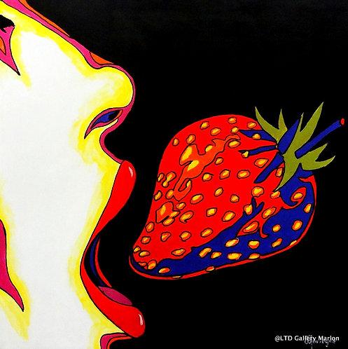 Je croque dans la fraise 60X60 Résiné CAISSE A.M JC.Quivogne