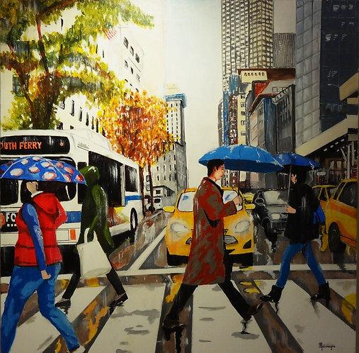 New York la pluie 80x80cm Acrylic