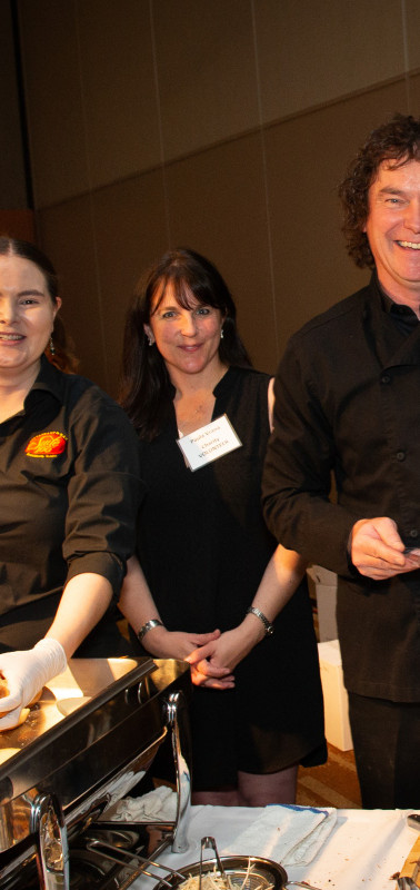 Paula Vrana of Hospice of Anchorage and Chef Kelly Nichols of Suite 100 Restaurant