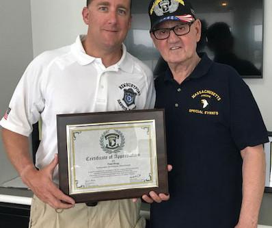 Harbormaster honored for helping veterans