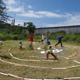 Tighnabruich Children Running in the Labyrinth