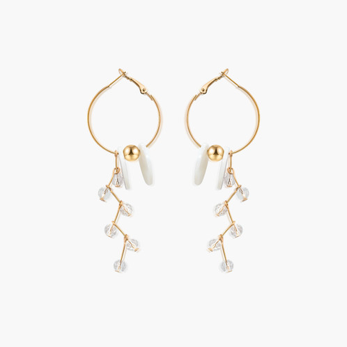 Shimmering shell beaded chandelier hoop earrings ease pieces shimmering shell beaded chandelier hoop earringspicture1 aloadofball Choice Image