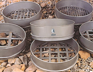 Different sized industrial sieves