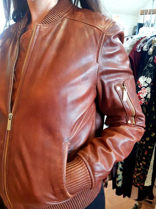 Michael Kors Leather Bomber