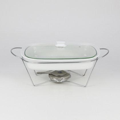 106402 Refratário retangular 34cm com suporte aramado e tampa de vidro