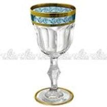106361 Jogo 06 taças licor dourado com azul