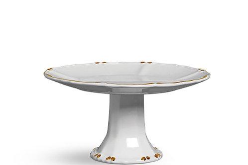 102093 Porta Torta Cristal Branco com Ouro