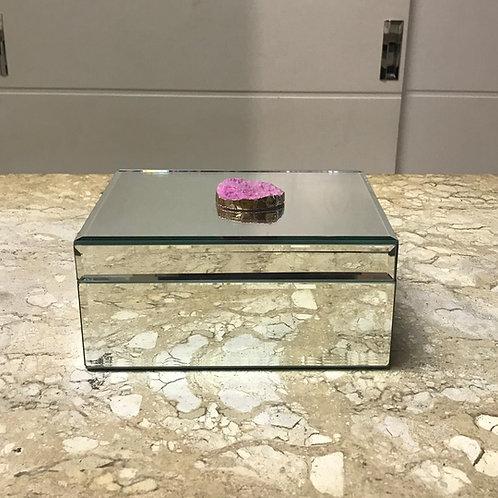 109195 Caixa espelhada c/ pedra quartzo rosa
